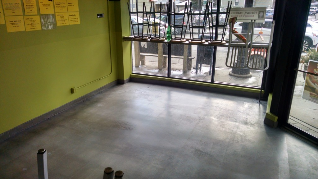 Painted walls and floors of Scooters Custard in Chicago