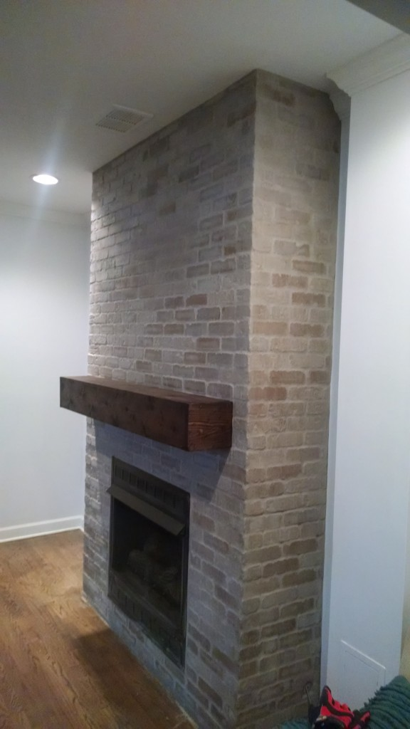 Custom-built fireplace mantle